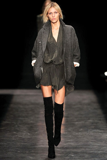 "A boyfriend's tweed jacket barely covers a skintight suede thigh-high at <a href=""http://nymag.com/fashion/fashionshows/2009/fall/main/europe/womenrunway/isabelmarant/"">Isabel Marant</a>."