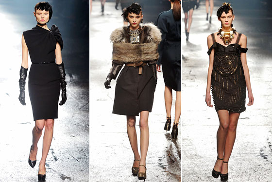 "Draped, furred, or embellished, and not a pant in sight, <a href=""http://nymag.com/fashion/fashionshows/2009/fall/main/europe/womenrunway/lanvin/"">Lanvin</a> just keeps building on its own perfection. His LBD, draped to one shoulder, gets longer and leaner. Fur on fur, Lanvin's donut is the season's must-have. An embellished, off-the-shoulder dress, topped off with the best baubles in town -- magnifique."