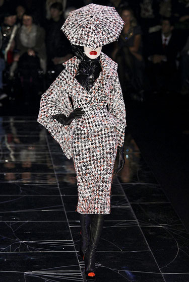 "Classic tweed is pushed to the extreme at <a href=""http://nymag.com/fashion/fashionshows/2009/fall/main/europe/womenrunway/alexandermcqueen/"">McQueen</a>'s controversial-yet-powerful show."