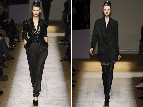 "A menswear jacket becomes sexy over a barely-there mini at <a href=""http://nymag.com/fashion/fashionshows/2009/fall/main/europe/womenrunway/yvessaintlaurent/"">YSL</a>. Shiny eel skin is belted over a now-classic Pilati-tapered trouser."
