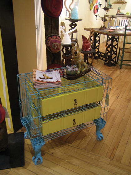 The designers of LIVE recycle and reuse everything. This bureau is made from wire and old drawers.