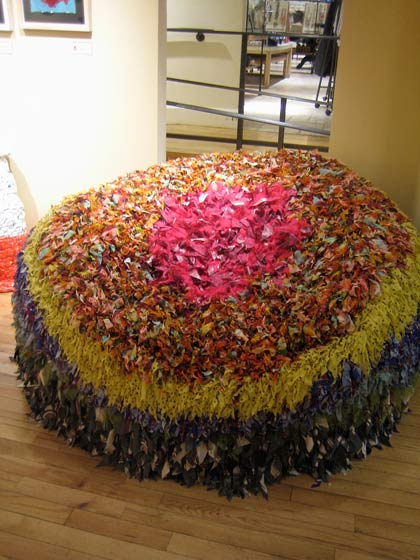 I could have just fallen into this huge puffy chair made from scraps of cloth. This is how creative you can be with leftovers!