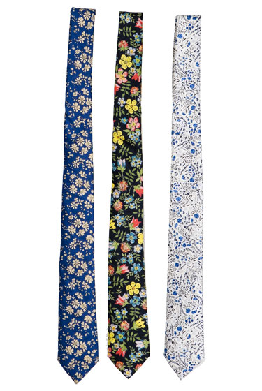 "Steven Alan skinny cotton Liberty ties, $70 each at <a href=""http://nymag.com/listings/stores/steven-alan00/"">Steven Alan</a>."