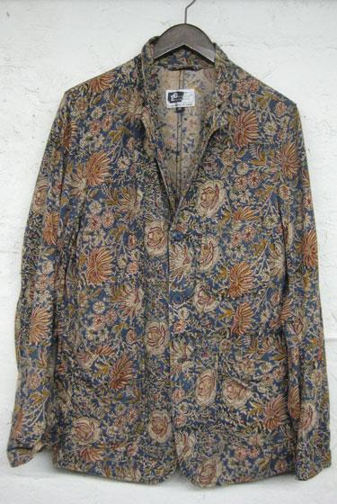 "Engineered Garments Baker jacket in blue Indian floral wood-block print, $295 at <a href=""http://nymag.com/listings/stores/hollander-and-lexer/"">Hollander and Lexer</a>."