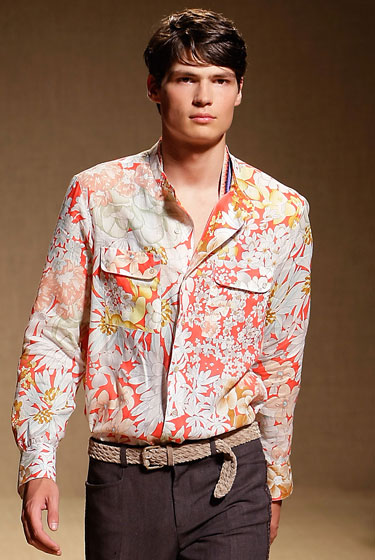 "<a href=""http://nymag.com/fashion/fashionshows/designers/bios/missoni/"">Missoni</a> floral-print shirt, $755 at <a href=""http://nymag.com/listings/stores/missoni/"">Missoni</a>."