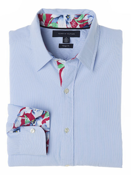 "<a href=""http://nymag.com/fashion/fashionshows/designers/bios/tommyhilfiger/"">Tommy Hilfiger</a> Jones flower pinstriped shirt, $98 at <a href=""http://nymag.com/listings/stores/h_by_hilfiger/"">Tommy Hilfiger</a>."