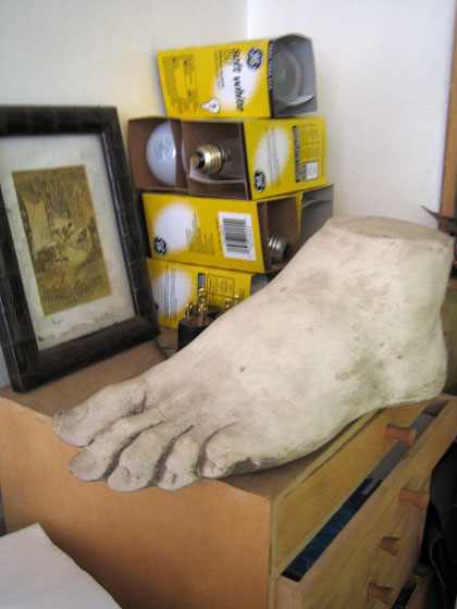 I loved the Roman-esque giant foot that was sitting on a desk next to a pile of lightbulbs. Vincent & Edgar, 972 Lexington Avenue, Suite 2, near 71st Street.
