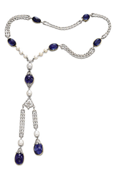 Sapphire, pearl, and diamond sautoir by Marcus & Co., circa 1900. This eighteen-inch necklace is set with sapphires, pearls, and diamond links. It comes with a matching bracelet (next slide). Estimate: $60,000-80,000. (Property of the Walters Art Museum, sold to benefit the Acquisitions Fund.)