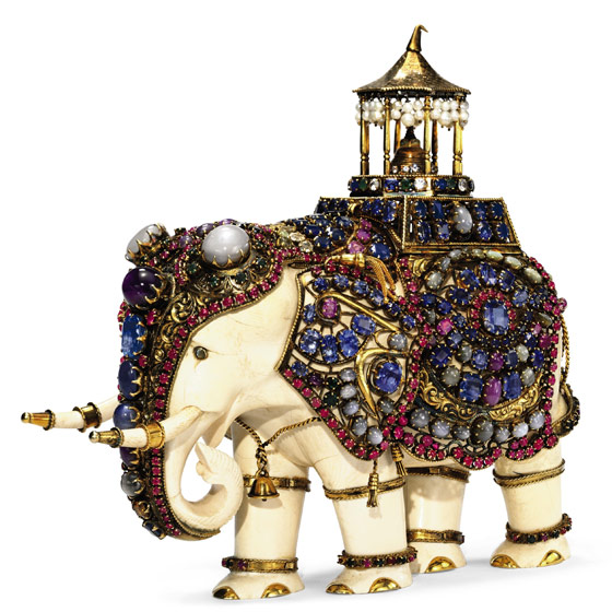 The star of the sale: an antique-ivory-and-multi-gem elephant, circa 1900, carved from a single piece of ivory. Estimate: $80,000-120,000.