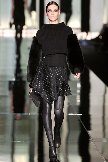 "Fur arms at <a href=""http://nymag.com/fashion/fashionshows/2009/fall/main/europe/womenrunway/robertocavalli/"">Roberto Cavalli</a>."
