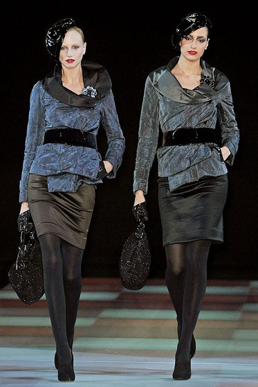 "Velvet belts add contrasting texture at <a href=""http://nymag.com/fashion/fashionshows/2009/fall/main/europe/womenrunway/giorgioarmani/"">Giorgio Armani</a>."