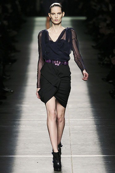 "<a href=""http://nymag.com/fashion/fashionshows/2009/fall/main/europe/womenrunway/givenchy/"">Givenchy's</a> belt offers just a hint of color."