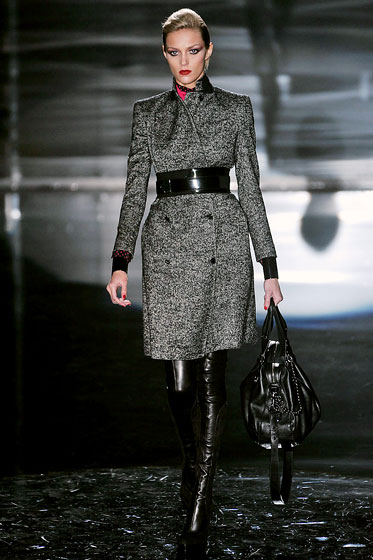 "<a hrer=""http://nymag.com/fashion/fashionshows/2009/fall/main/europe/womenrunway/gucci/"">Gucci's</a> belt is sexy, tough, and means business."
