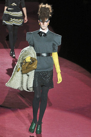 "Big shoulders and a cinched waist make the eighties come alive again at <a href=""http://nymag.com/fashion/fashionshows/2009/fall/main/newyork/womenrunway/marcjacobs/"">Marc Jacobs</a>."