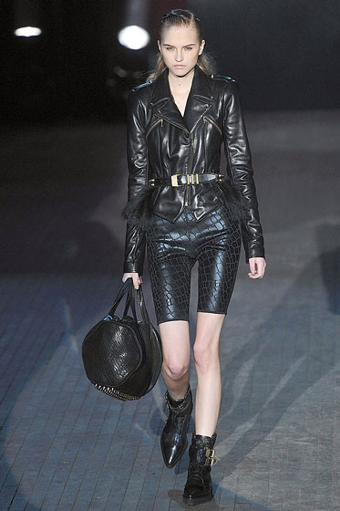 "<a href=""http://nymag.com/fashion/fashionshows/2009/fall/main/newyork/womenrunway/alexanderwang/"">Alexander Wang</a> doubled up on leather: alligator-textured shorts and a motorcycle jacket."