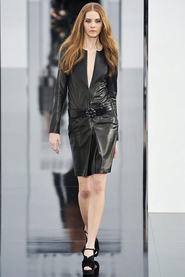 "<a href=""http://nymag.com/fashion/fashionshows/2009/fall/main/europe/womenrunway/chanel/"">Chanel</a>'s leather dress captured great movement."