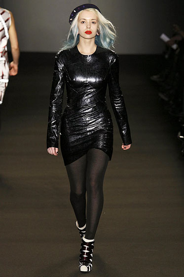 "This leather dress by <a href=""http://nymag.com/fashion/fashionshows/2009/fall/main/europe/womenrunway/gilesdeacon/"">Giles Deacon</a> looked snug but wasn't too revealing."