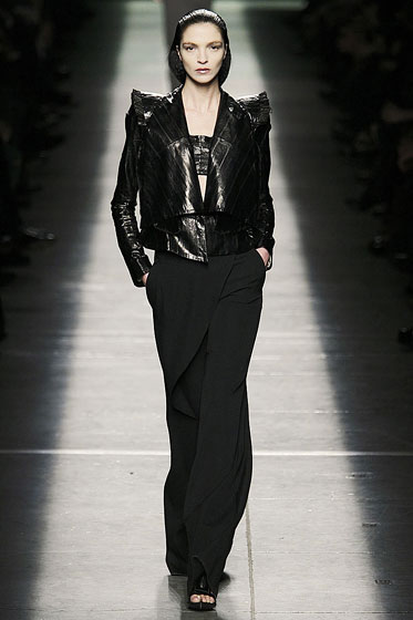"<a href=""http://nymag.com/fashion/fashionshows/2009/fall/main/europe/womenrunway/givenchy/"">Givenchy</a>'s leather jacket rocked the big shoulders that are key for fall."