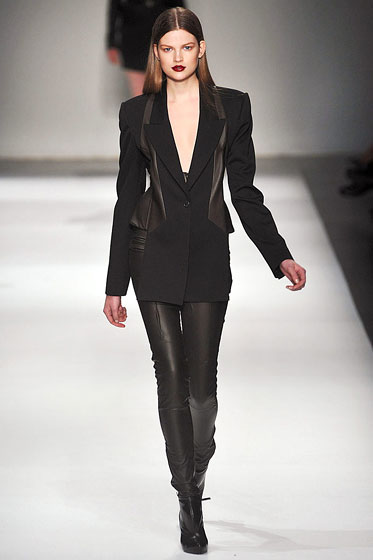 "<a href=""http://nymag.com/fashion/fashionshows/2009/fall/main/europe/womenrunway/husseinchalayan/"">Hussein Chalayan</a> used leather in leggings and to accent his jacket."