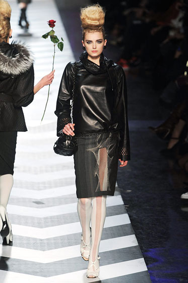 "Leather was on everything, even shirts, like at <a href=""http://nymag.com/fashion/fashionshows/2009/fall/main/europe/womenrunway/jeanpaulgaultier/"">Jean Paul Gaultier</a>."