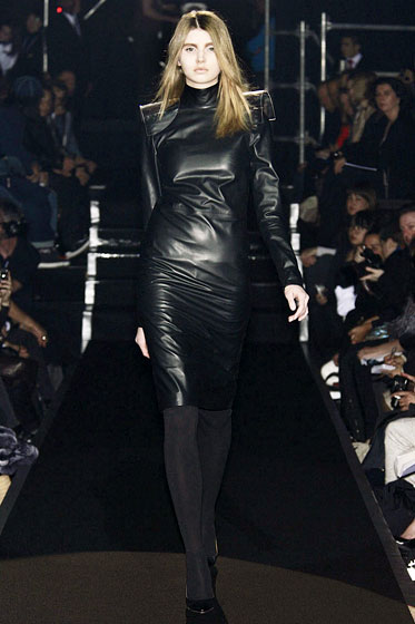 "The sexiest thing about this leather dress by <a href=""http://nymag.com/fashion/fashionshows/2009/fall/main/europe/womenrunway/martinmargiela/"">Maison Martin Margiela</a> is that it's backless. You'd never know it by looking at the front, which makes it that much better."