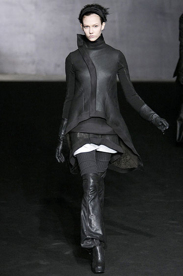"<a href=""http://nymag.com/fashion/fashionshows/2009/fall/main/europe/womenrunway/rickowens/"">Rick Owens</a> had leather everywhere -- long jackets, thigh-high boots, skirts, gloves ... and those are just the layers we can see."