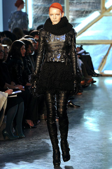 "<a href=""http://nymag.com/fashion/fashionshows/2009/fall/main/newyork/womenrunway/rodarte/"">Rodarte</a>'s leather had just the right amount of naughtiness to it."