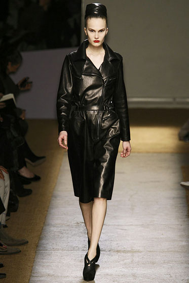 "This <a href=""http://nymag.com/fashion/fashionshows/2009/fall/main/europe/womenrunway/yvessaintlaurent/"">Yves Saint Laurent</a> dress is as conservative as leather will get. This season, at least."