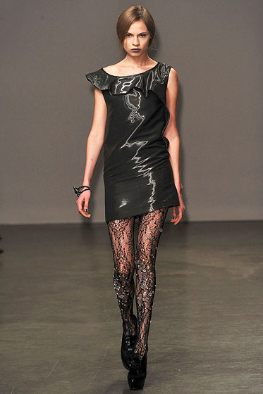 "<a href=""http://nymag.com/fashion/fashionshows/2009/fall/main/newyork/womenrunway/doori/"">Doo.Ri</a> stepped up a lacy design by adding sequins."