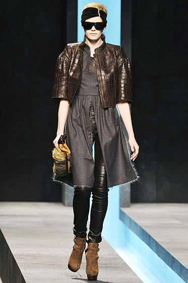 "Want something tighter than leather pants? Try leather leggings, like these at <a href=""http://nymag.com/fashion/fashionshows/2009/fall/main/europe/womenrunway/fendi/"">Fendi</a>."