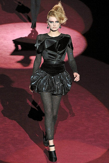 "These <a href=""http://nymag.com/fashion/fashionshows/2009/fall/main/newyork/womenrunway/marcjacobs/"">Marc Jacobs</a> leggings had a lot going on -- sheer, patterns, and sparkles -- and it worked."