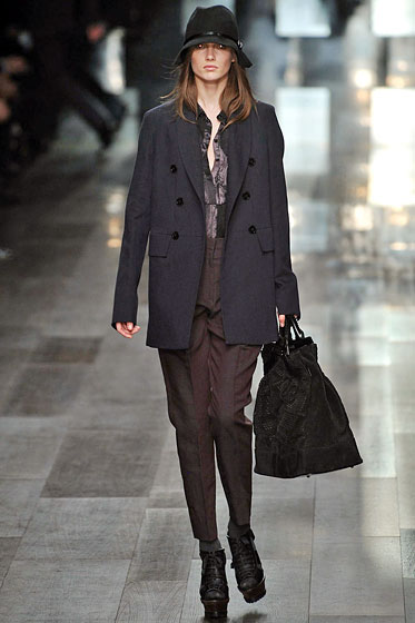 "A double-breasted jacket by <a href=""http://nymag.com/fashion/fashionshows/2009/fall/main/europe/womenrunway/burberry/"">Burberry</a>."