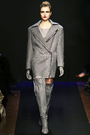 "Nipped-in at the waist, this <a href=""http://nymag.com/fashion/fashionshows/2009/fall/main/europe/womenrunway/costumenational/"">Costume National</a> blazer has a softer, more feminine feel."