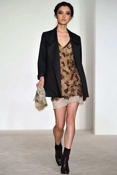 "Paired with an embellished dress, a blazer makes an evening look work for day at <a href=""http://nymag.com/fashion/fashionshows/2009/fall/main/newyork/womenrunway/dereklam/"">Derek Lam</a>."