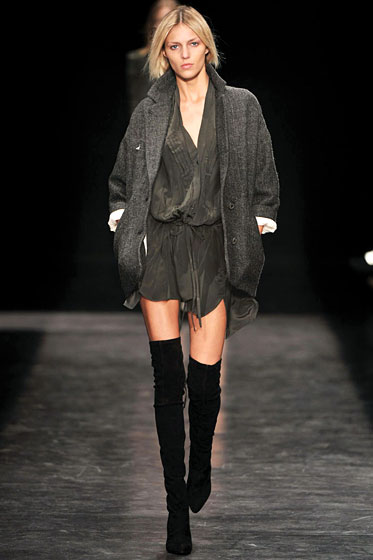"A sexy, slouchy jacket by <a href=""http://nymag.com/fashion/fashionshows/2009/fall/main/europe/womenrunway/isabelmarant/"">Isabel Marant</a>."
