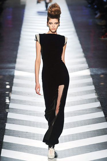 "The fabric adds depth to the basic black at <a href=""http://nymag.com/fashion/fashionshows/2009/fall/main/europe/womenrunway/jeanpaulgaultier/"">Gaultier</a>."
