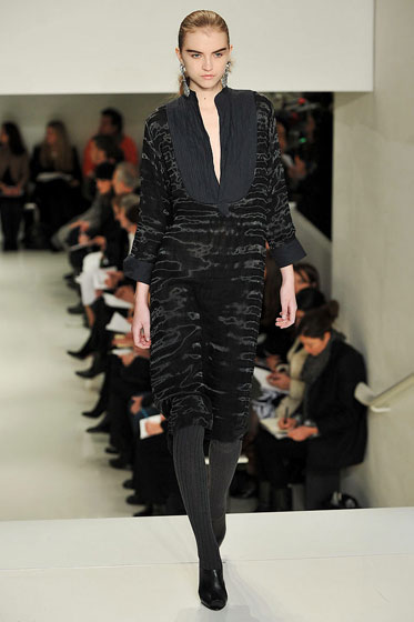 "<a href=""http://nymag.com/fashion/fashionshows/2009/fall/main/newyork/womenrunway/verawang/"">Vera Wang's</a> dark fall collection was softened with textured velvet."