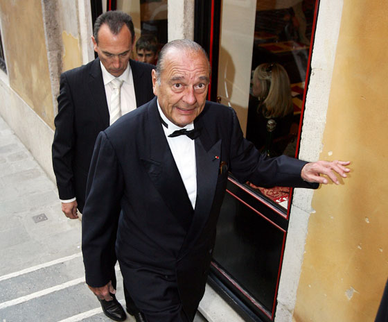 Oh look! It's former French president Jacques Chirac! Otherwise known as the only man in attendance, aside from the groom, who wore a standard-issue tux.