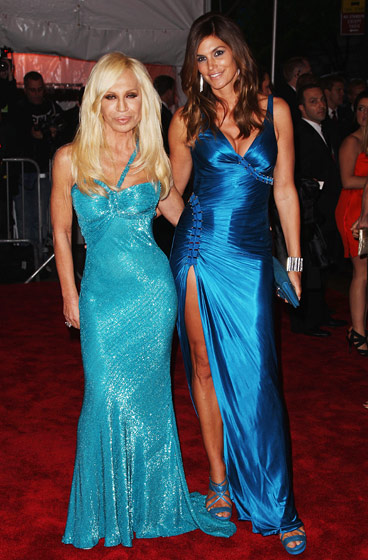 Donatella Versace with Cindy Crawford (in Versace).