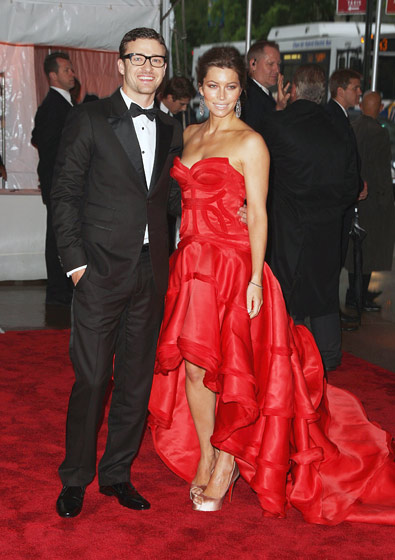 Justin Timberlake in William Rast, with Jessica Biel in Versace.