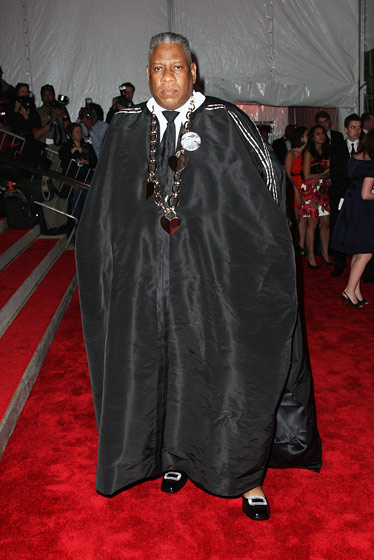 Andre Leon Talley in a cape by Isabel Toledo, and a custom necklace and shoes by Roger Vivier.