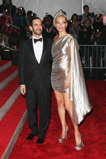Marc Jacobs, with Kate Moss in a Marc Jacobs dress and Harry Winston jewelry.