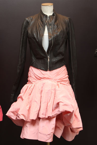 Rick Owens leather jacket, $650; Oscar de la Renta silk skirt, $540.