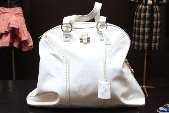 YSL white patent leather handbag, $430.