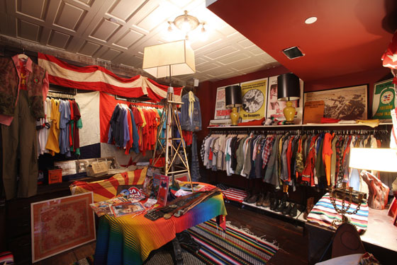The pop-up is set up to evoke American thrift stores.