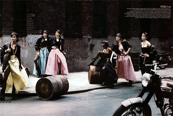 British <em>Vogue</em> did a fantastic story this month where they asked designers, stylists, and photographers to choose the one image that changed their lives and forever altered their perspectives. Philip Lim chose this 1991 Peter Lindbergh shot of Helena Christensen, Stephanie Seymour, Karen Mulder, Naomi Campbell, Claudia Schiffer, and Cindy Crawford. This moment will never get old.