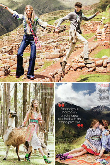 This spread is so confused. The 14-year-old couple took a jaunt to Peru. She walked a llama. Then they had a picnic. With no food. This is why the world needs parents.