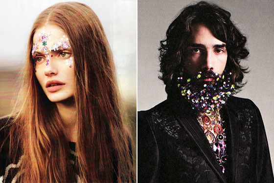 She's got little unicorn stickers on her face (from <em>Mixte</em> magazine). He's got a similarly festive multicolored arrangement in his beard, (from <em>Dazed & Confused</em>). These are what we call fresh faces.