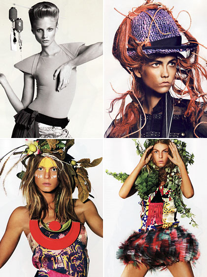 "These shots are from <em>i-D</em> (top left), French <em>Vogue</em> (top right), and British Vogue</em> (bottom row). <a href=""http://nymag.com/fashion/fashionshows/2009/spring/main/europe/womenrunway/junyawatanabe/"">Junya Watanabe</a> piled foliage on his models' heads for his spring show so stylists have been keen on coming up with ridiculous head ornamentation of their own all spring. <em>Enough.</em> It only distracts from the six-figure items of clothing they're showing us. And we don't want to be distracted!"