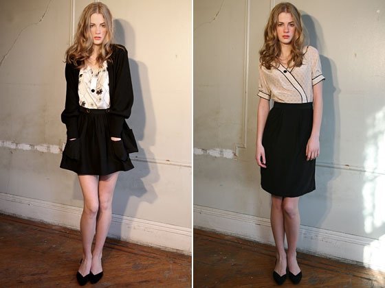 A long knit sweater, a blouse with buttons up the middle, a skirt with a little pouf, and a pencil skirt.